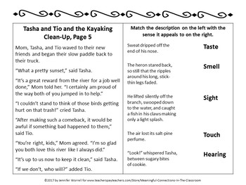 No-Prep Fall Literacy Packet: Tasha and Tio and the Kayak Clean-Up