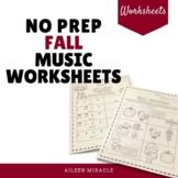 No Prep Fall Music Worksheets