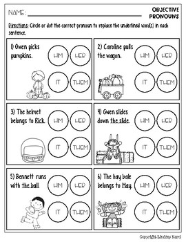 No Prep Fall Pronoun Practice