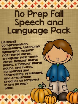 No Prep Fall Speech and Language Pack