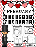 No Prep February Literacy Stations {Valentine's Day, Groundhogs, & Presidents!}