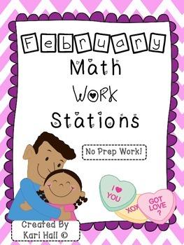 No Prep February Math Work Stations!