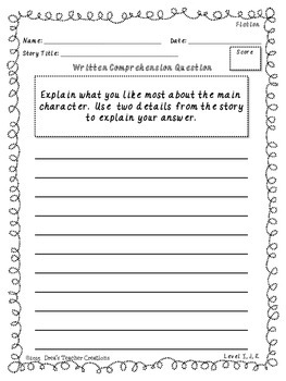 No Prep Fiction and Non-Fiction Written Comprehension Questions