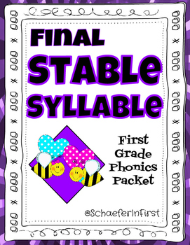 No-Prep Final Stable Syllables Packet