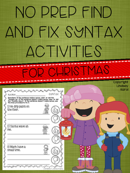 No Prep Find and Fix Syntax Activities for Christmas