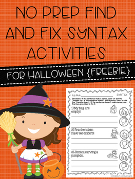 No Prep Find and Fix Syntax Activities for Halloween {Freebie}
