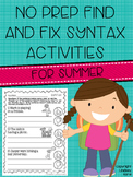 No Prep Find and Fix Syntax Activities for Summer
