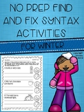 No Prep Find and Fix Syntax Activities for Winter