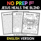 No Prep First Grade Jesus Heals the Blind Bible Lesson - D