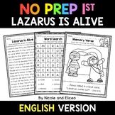 No Prep First Grade Lazarus is Alive Bible Lesson - Distan