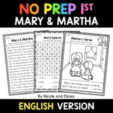 No Prep First Grade Mary and Martha Bible Lesson - Distanc