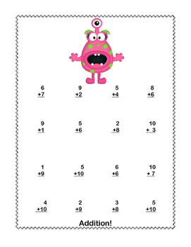 No Prep First Grade Math Worksheets -Addition-Common Core-More Funny Monsters
