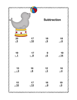 No Prep First Grade Math Worksheets -Subtraction-Common Core-Circus Theme