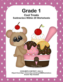 No Prep First Grade Math Worksheets -Subtraction-Common Core-Cool Treats