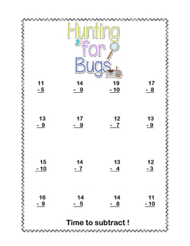 No Prep First Grade Math Worksheets -Subtraction-Common Core-Hunting for Bugs