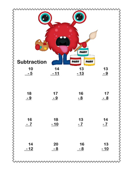 No Prep First Grade Math Worksheets -Subtraction-Common Core-More Monsters Theme