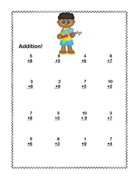 No Prep First Grade Math Worksheets -Addition-Common Core-Pool Party