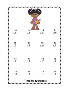 No Prep First Grade Math Worksheets -Subtraction-Common Core-Pool Party