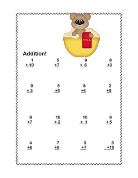 No Prep First Grade Math Worksheets -Addition-Common Core-Teddy Bear Picnic