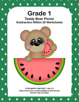 No Prep First Grade Math Worksheets -Subtraction-Common Core-Teddy Bear Picnic