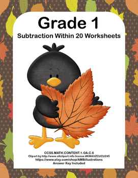 No Prep- First Grade Math Worksheets- Subtraction Within 20