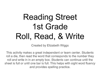 No-Prep First Grade Reading Center: Roll Read Write Reading Street Unit 2 & 3