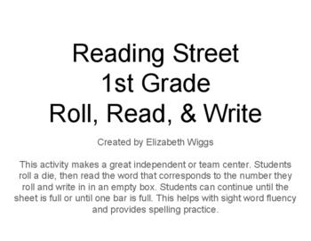 No-Prep First Grade Reading Center: Roll Read Write Reading Street Unit R & 1