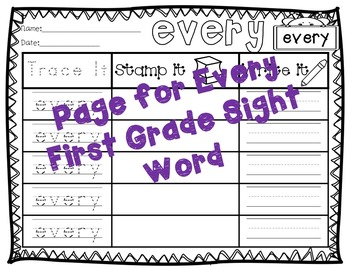 No Prep First Grade Sight Words Stamping and Activities