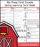 No-Prep First Grade Spring Learning: Farm Week - Distance