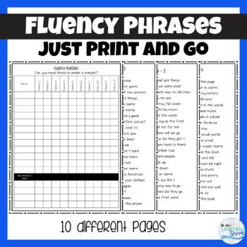 No Prep Fluency Phrases and Recording Sheet