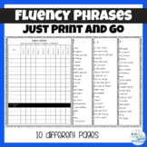 No Prep Fluency Phrases and Recording Sheet