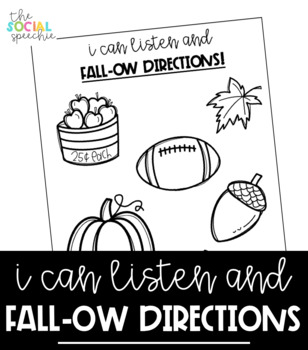 No Prep Following Directions Activity for Fall - Speech and Language