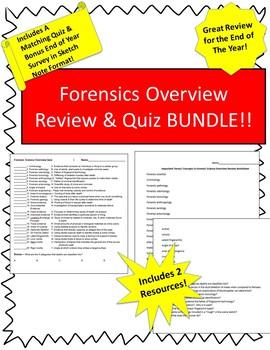 No Prep Forensics Review Bundle! Includes Rev WS,Quiz & EOY Sketch Notes!