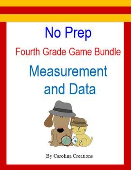 No Prep Fourth Grade Math Game Bundle - Measurement and Data