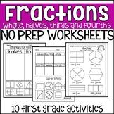 No Prep Fraction Worksheets First Grade