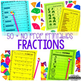 No Prep Fractions Printables - Identifying, Fractions, & Equivalent Fractions