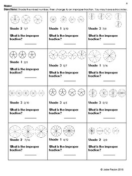 No Prep  Fractions! Shading Mixed Numbers to Improper Fractions
