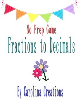 No Prep Fractions to Decimals Game Tenths and Hundredths -