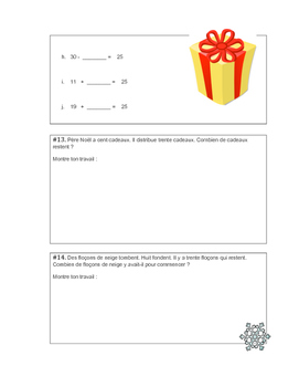 No Prep French Christmas Math Questions - Mathé de 