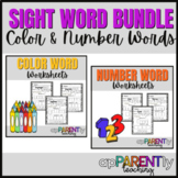 Functional Sight Word Worksheets - Colors and Numbers- No Prep