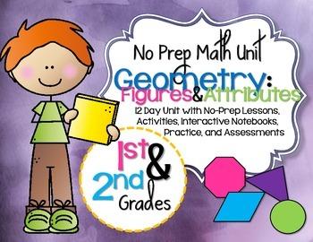 No Prep Geometry Unit 1st & 2nd Grade {CCSS}