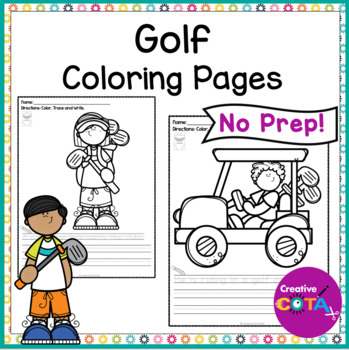 No Prep Golf Color and Write a Sentence Worksheets