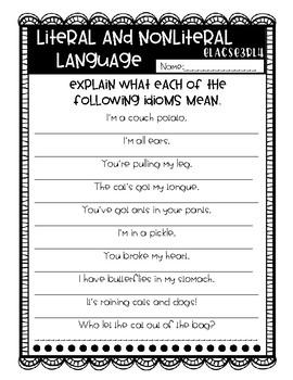 No Prep, Grab-and-Go worksheets: 3rd Grade RL.3.4 Nonliteral Language