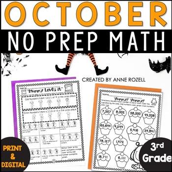 No Prep! Grade 3! Math for October!