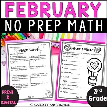 No Prep! Grade 3! Math for February!