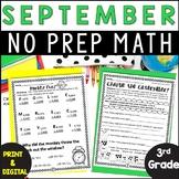 No Prep! Grade 3! Math for September!