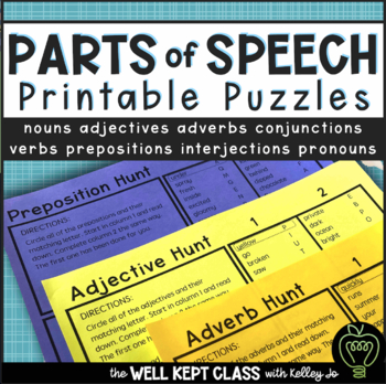 Parts of Speech Printable Worksheet Puzzles