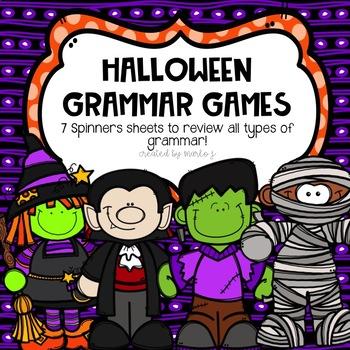 No Prep Grammar Review Centers-- Halloween Themed