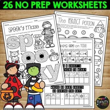 No Prep Halloween Fun Activities Crossword Puzzle Word Search Mazes