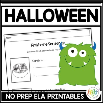 No Prep Halloween Literacy Activity Packet